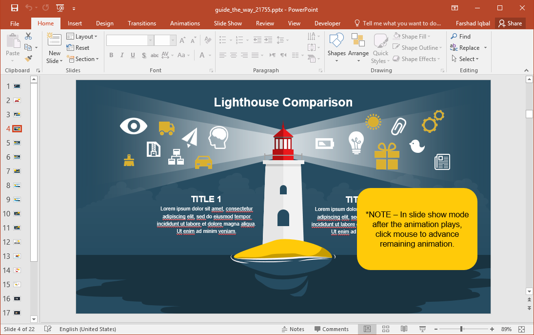 Lighthouse Illustration with Infographic Placeholders