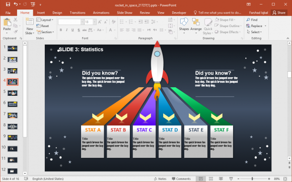 timeline slide with rocket animation