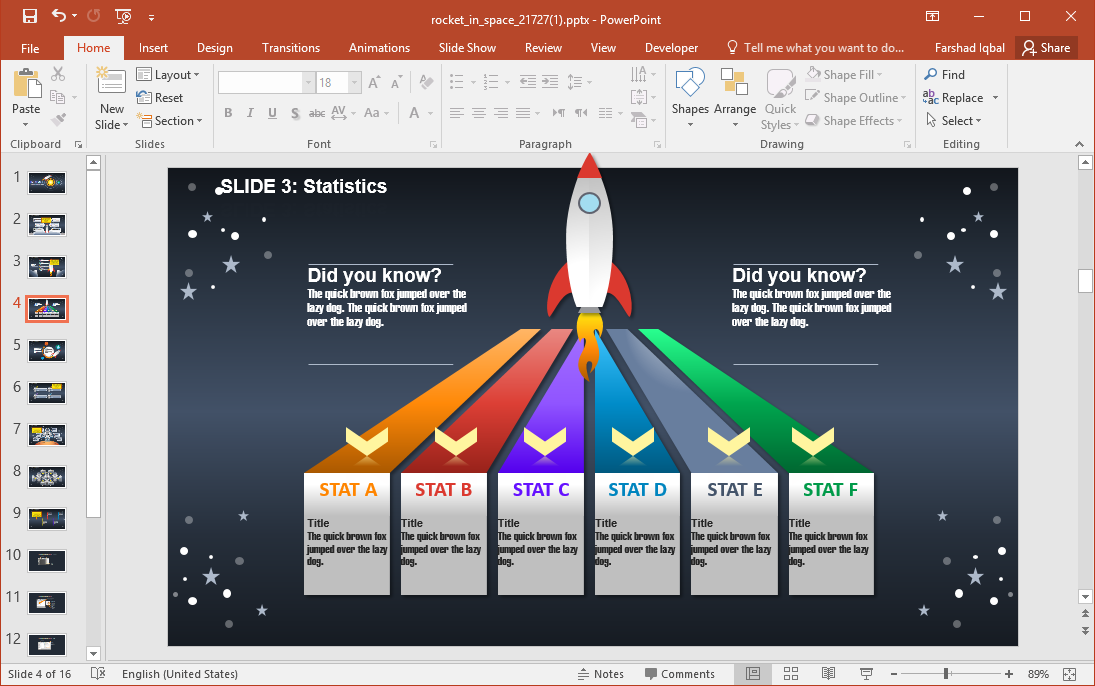 Timeline Slide with Rocket Animation