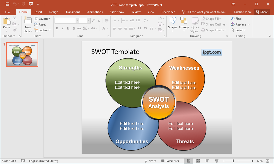 Free Butterfly SWOT Analysis Diagram for PowerPoint