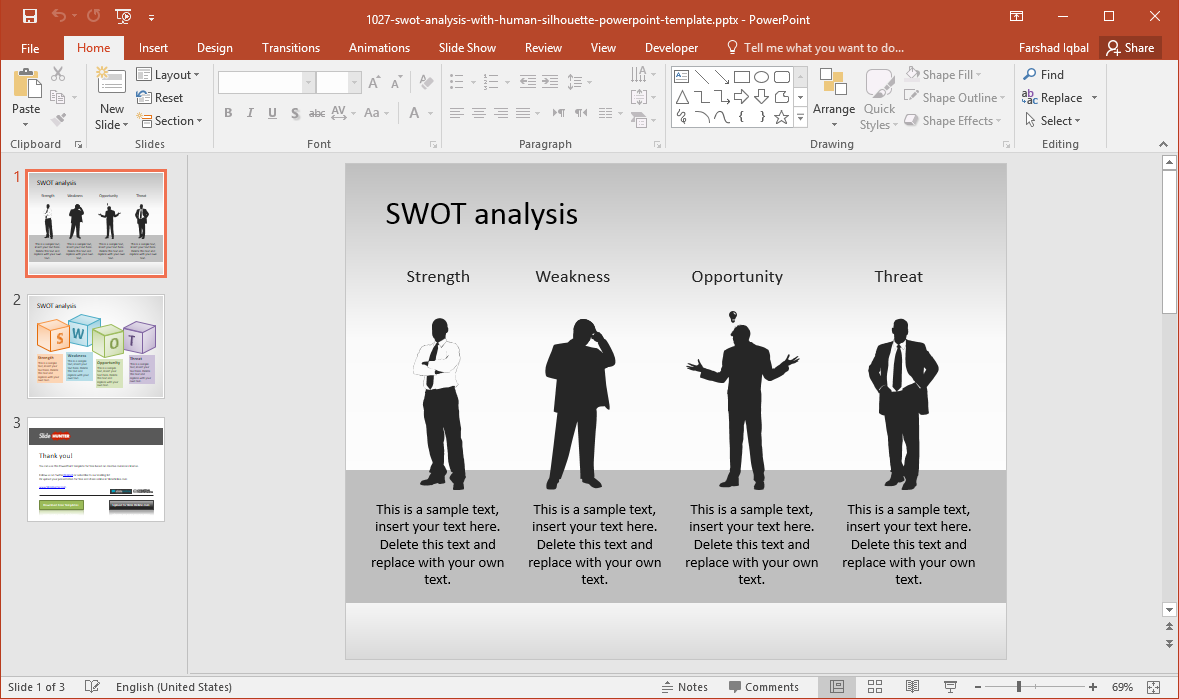 Free SWOT PowerPoint Template with Human Silhouette