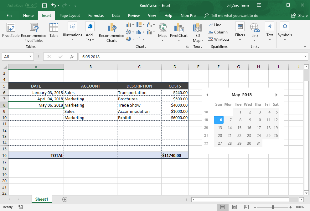 Data Editing in Excel made Easy with XLTools Net Calendar