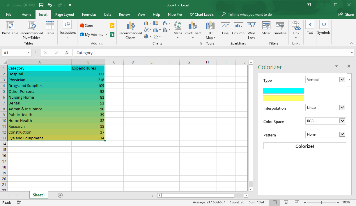 enhance excel spreadsheets with colors with excel colorizer