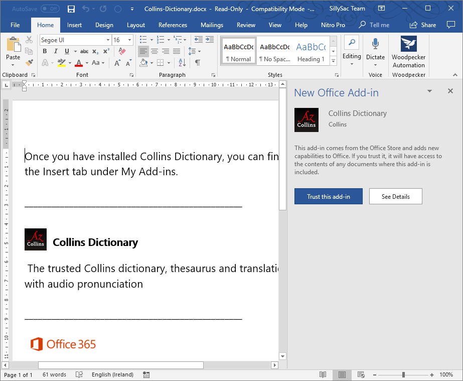 Collins Dictionary Add-In for Office
