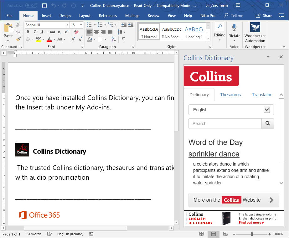 Use Collins Dictionary for Office Programs