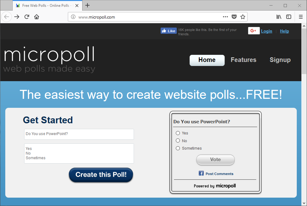 Create Poll with MicroPoll