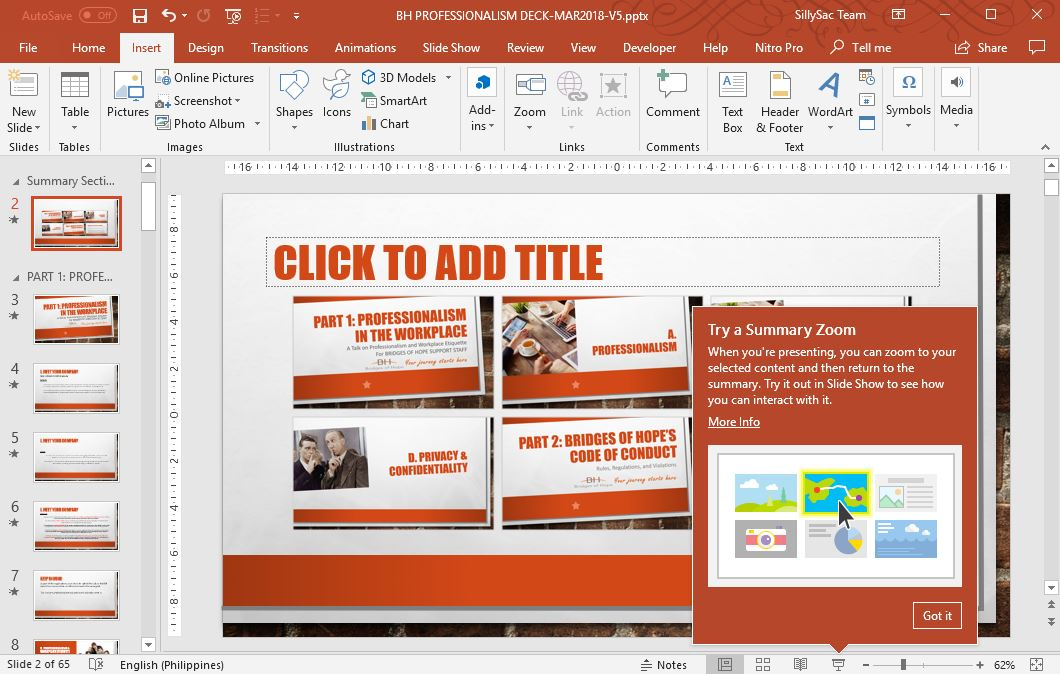 Summary Zoom Slide in PowerPoint