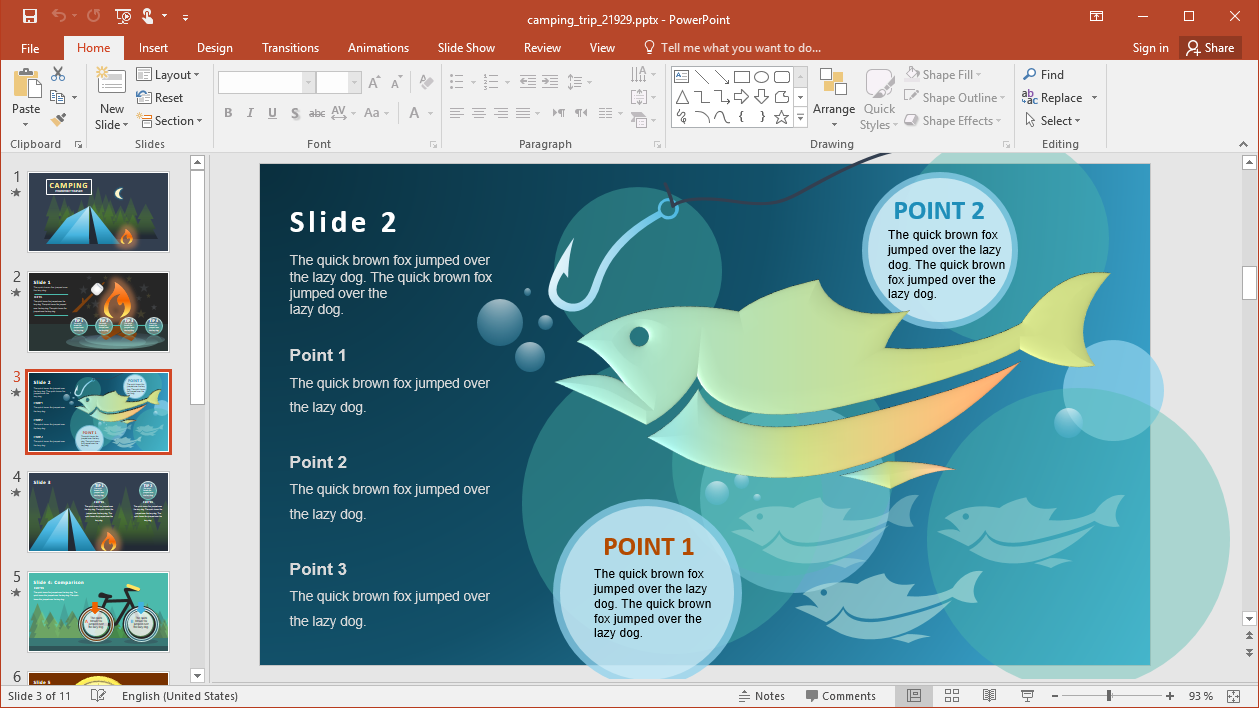 Fish Slide for Camping Presentation