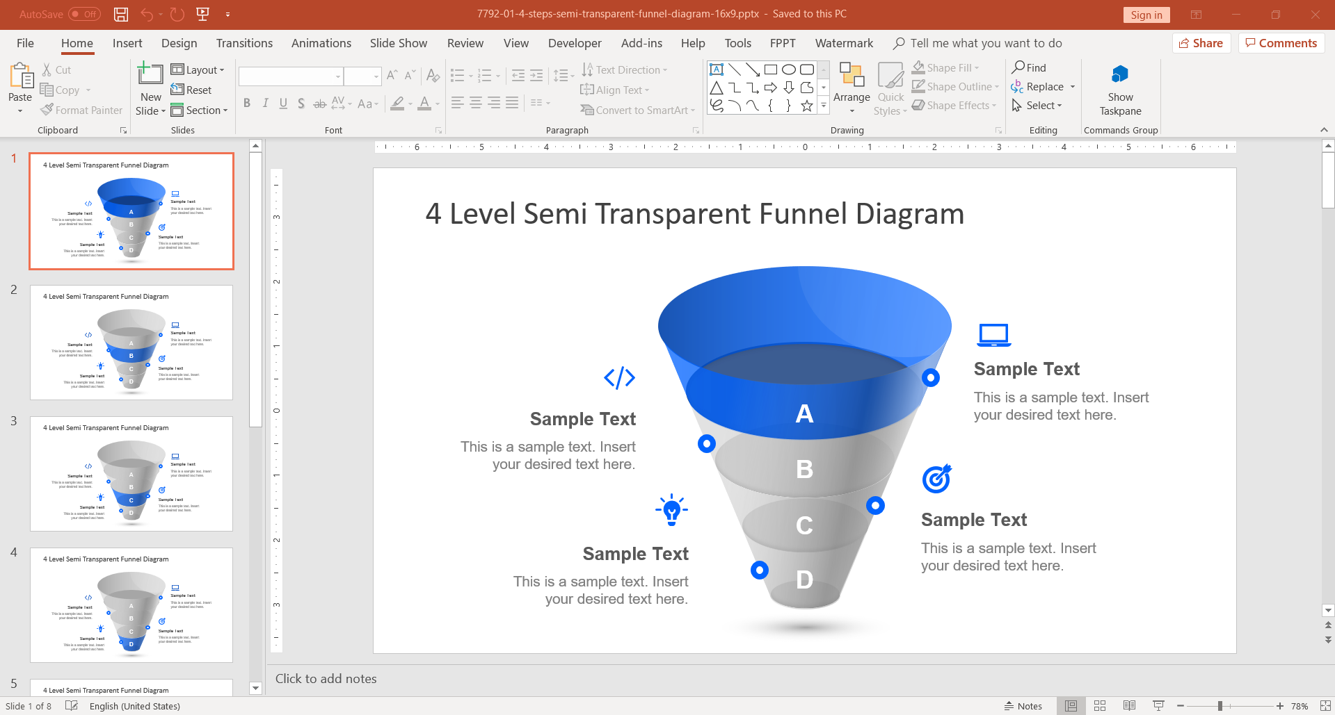 4 Level Funnel Diagram PowerPoint Template