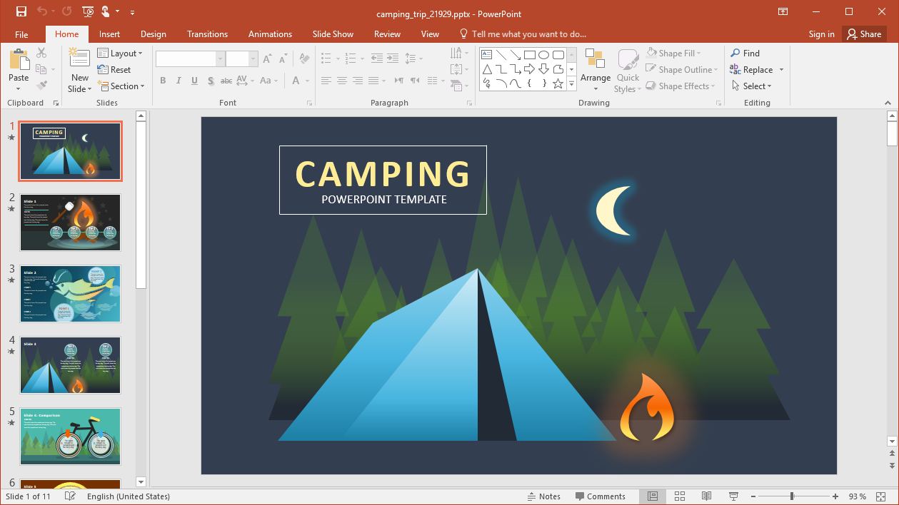 Animated Camp Trip PowerPoint Template