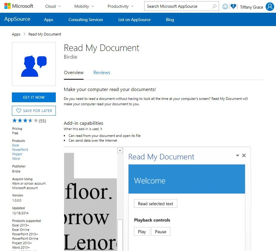 Get Read My Document from AppSource