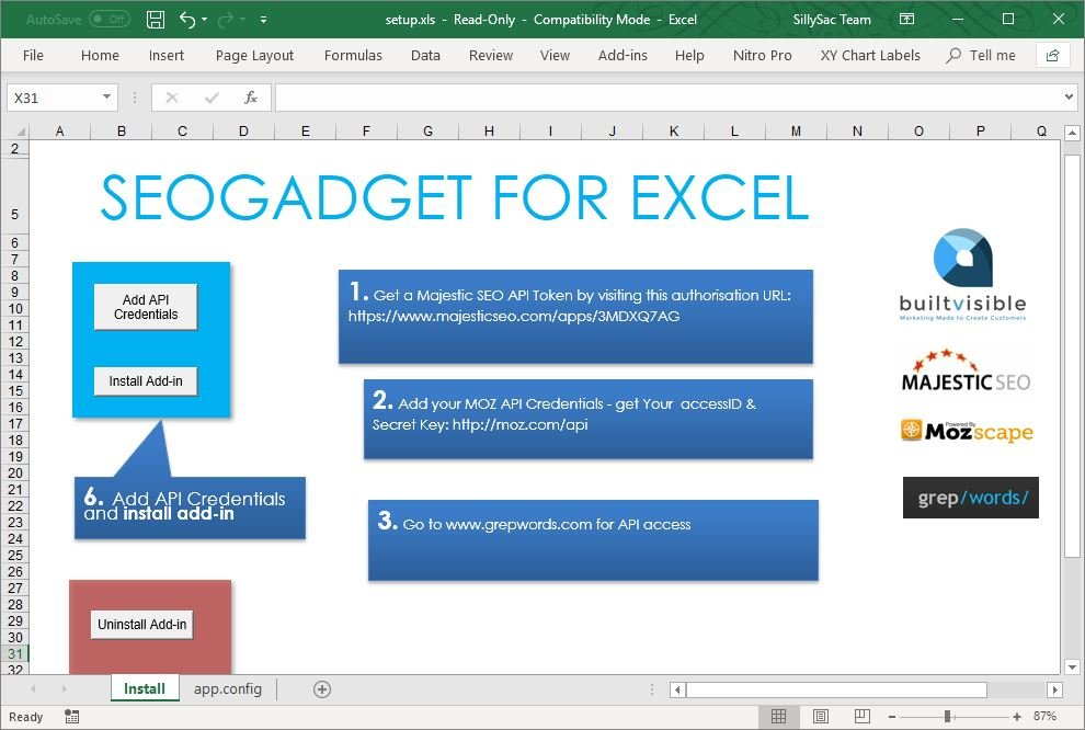 Get SEO Gadget for Excel