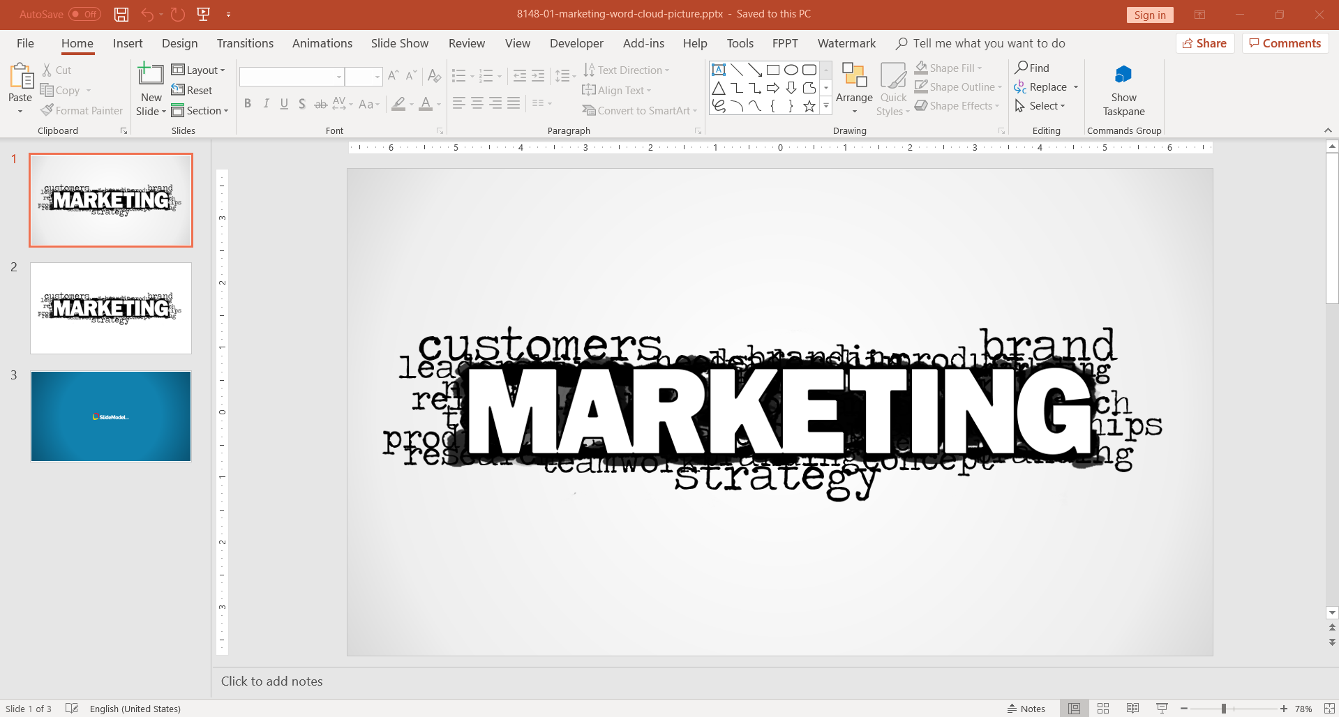 Marketing Cloud words diagram for PowerPoint