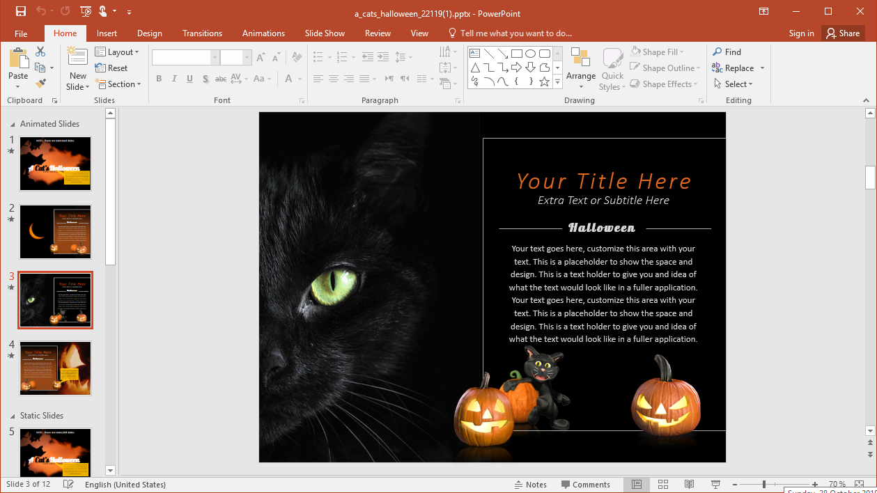 Black Cat Halloween Template