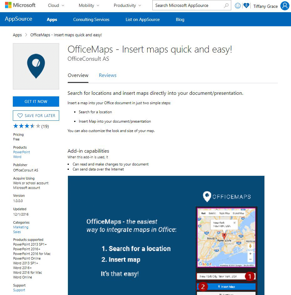 Get OfficeMaps for Word and PowerPoint