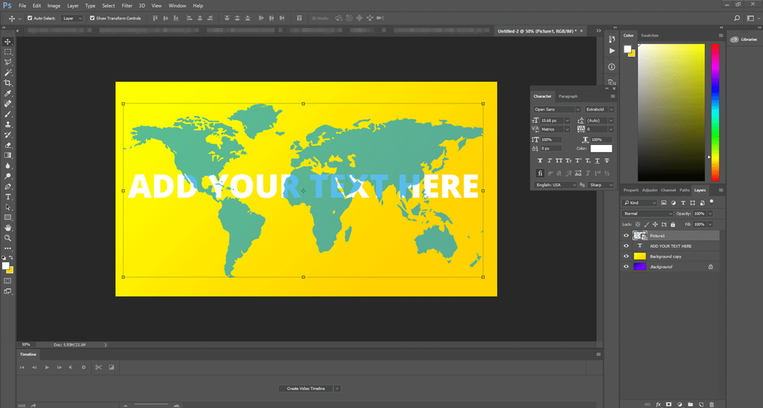 Photoshop Worldmap template design with transparency