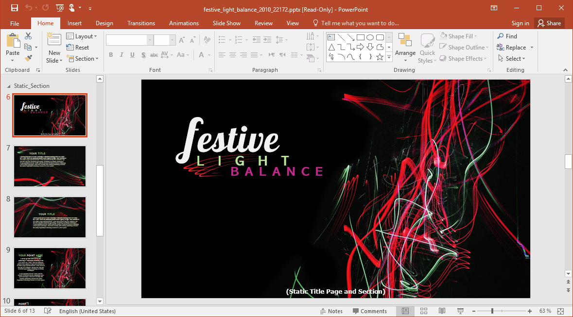 Animated Festive Lights PowerPoint Template