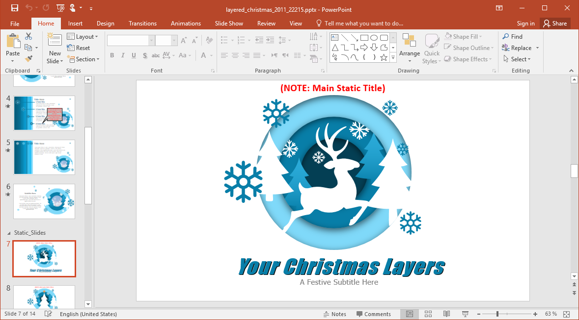 Christmas Reindeer PowerPoint Template