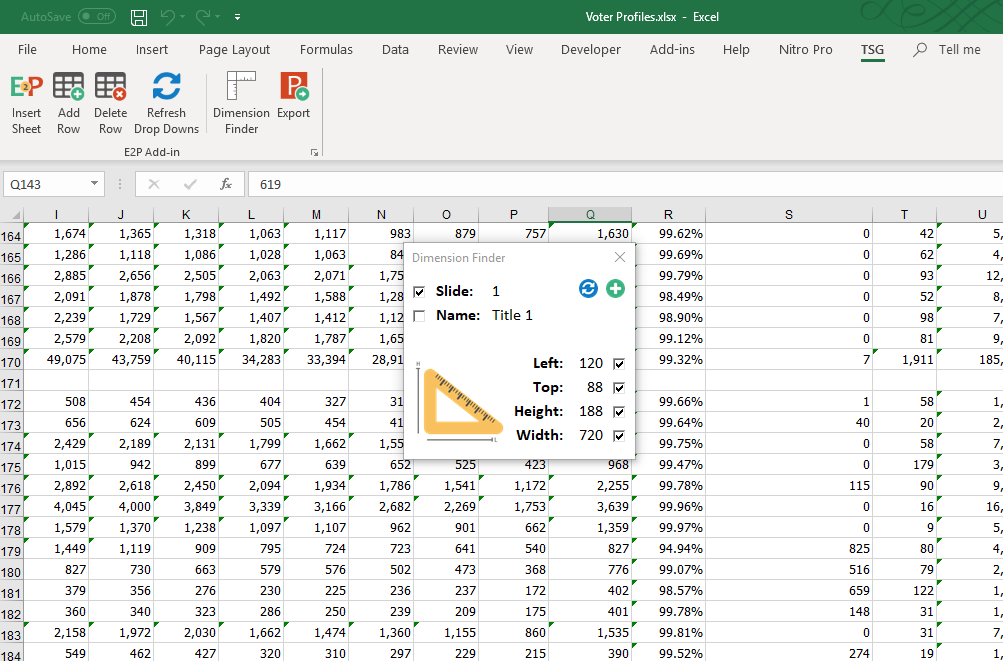 Dimension Finder to Match Excel Spreadsheet to PowerPoint Slide