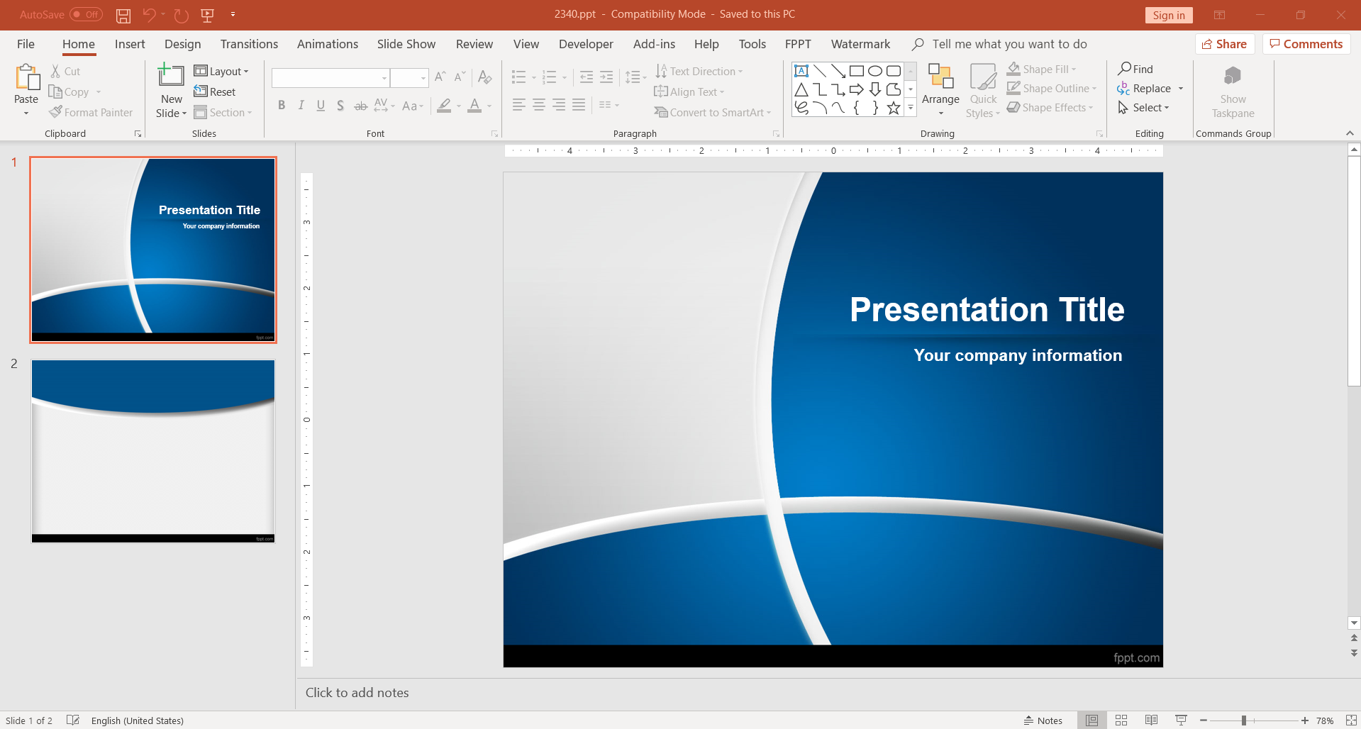 Blue design for PowerPoint as a template