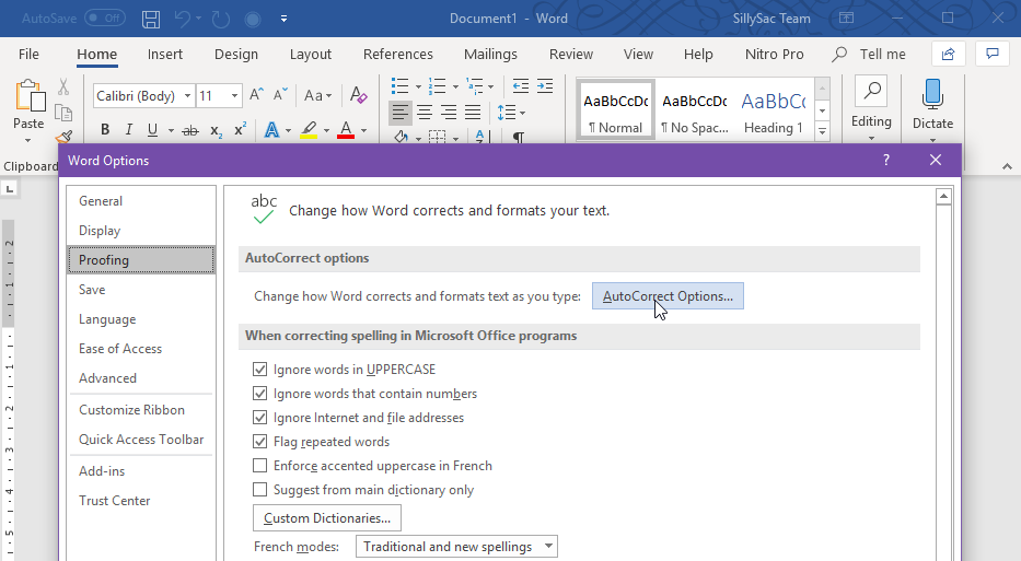 Enable AutoCorrect Feature in Word