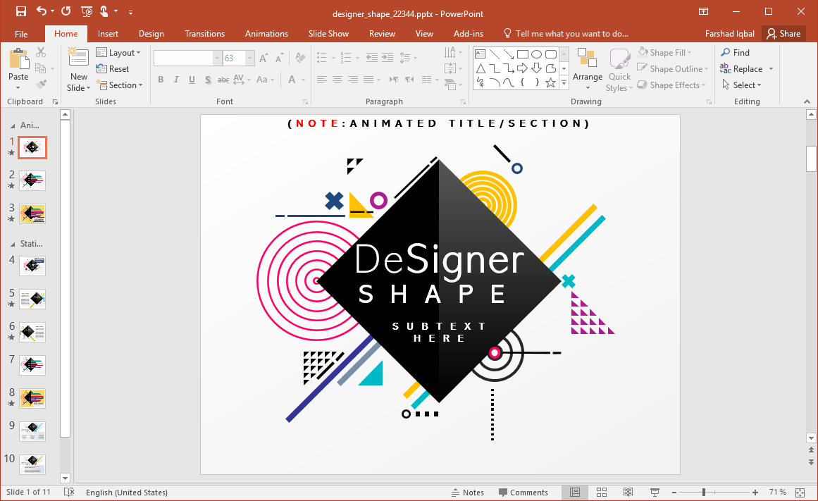 Animated Designer Shapes PowerPoint Template