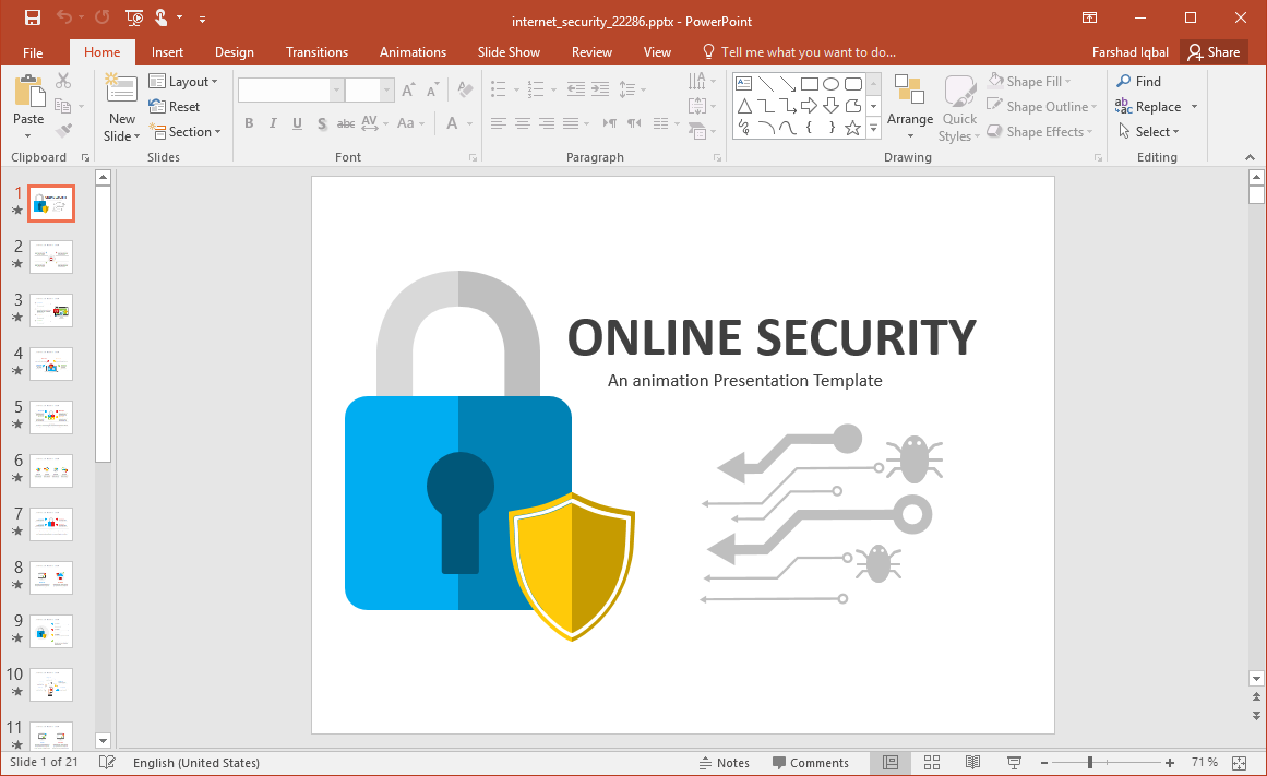 Animated Internet Security PowerPoint Template
