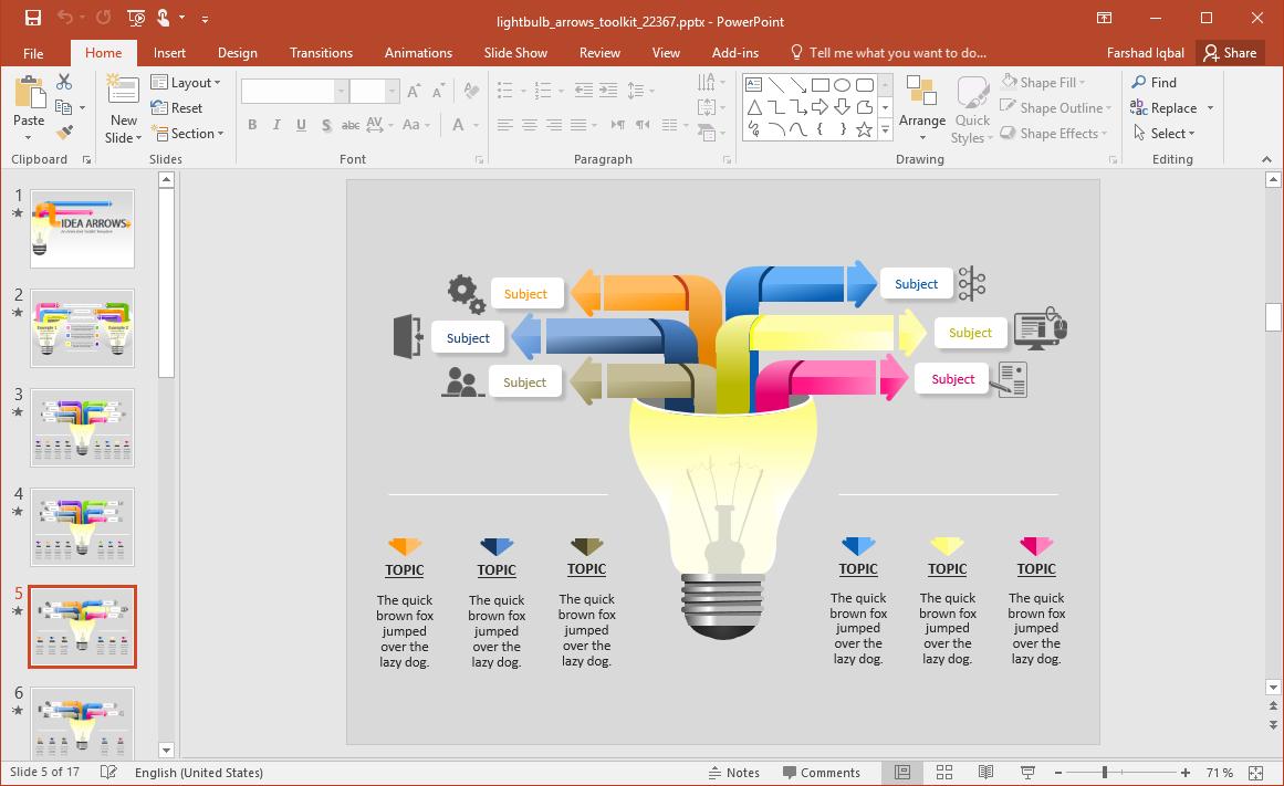Editable Light Bulb Slides