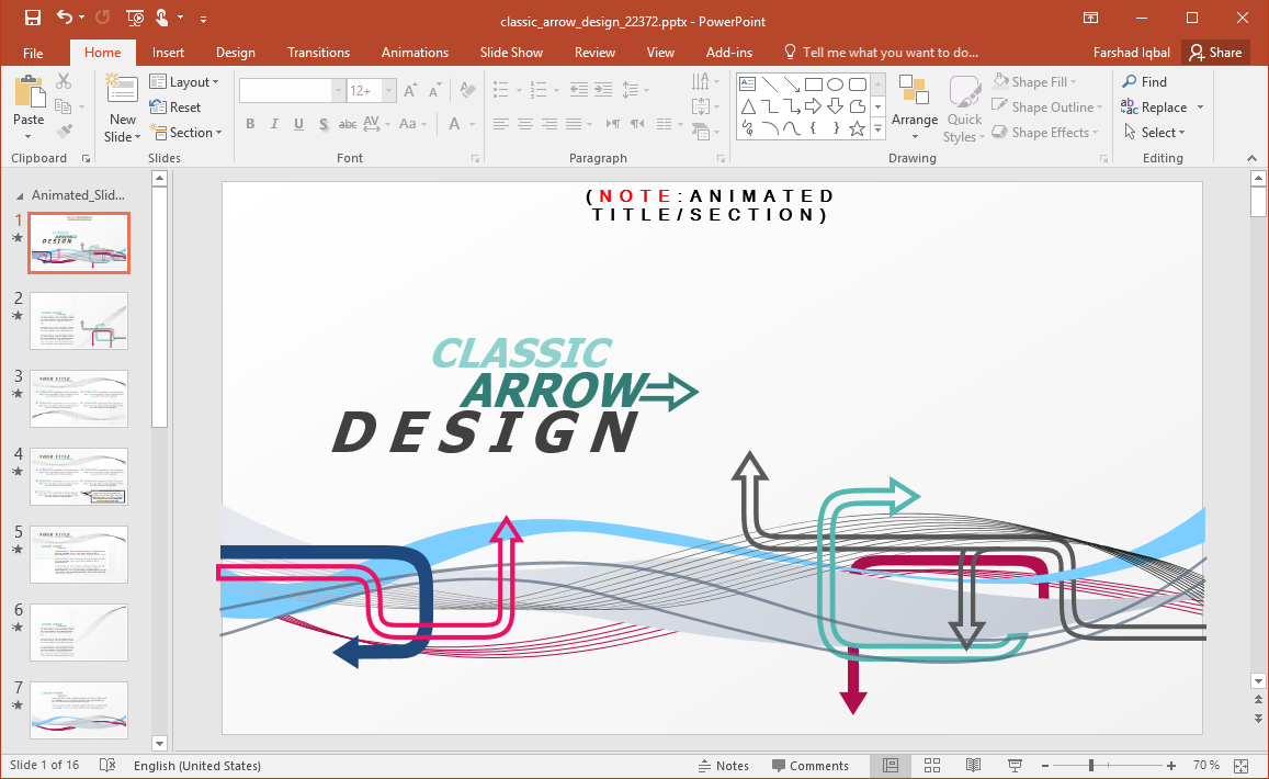 Animated Classic Arrow Design PowerPoint Template