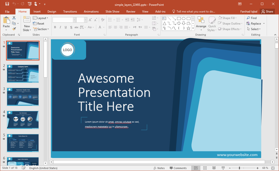 Animated Simple Layers PowerPoint Template