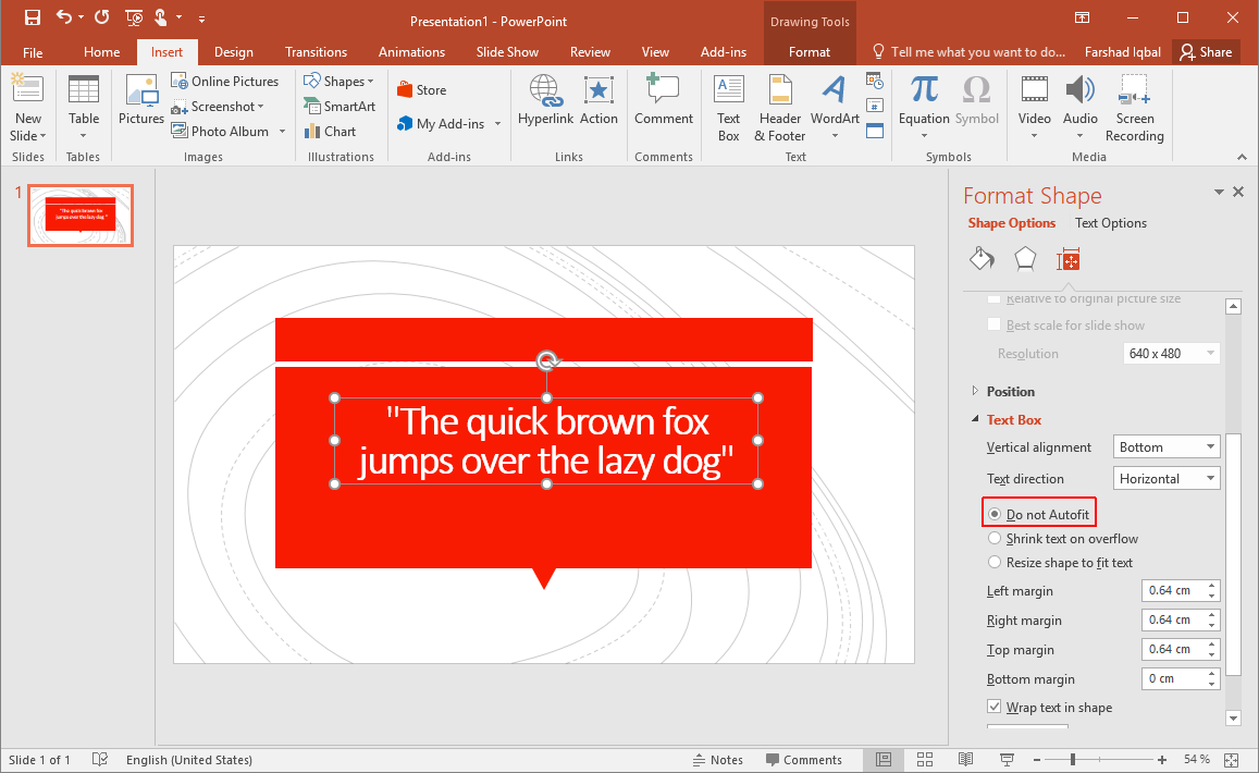 How to Disable Auto Fit for Text in PowerPoint