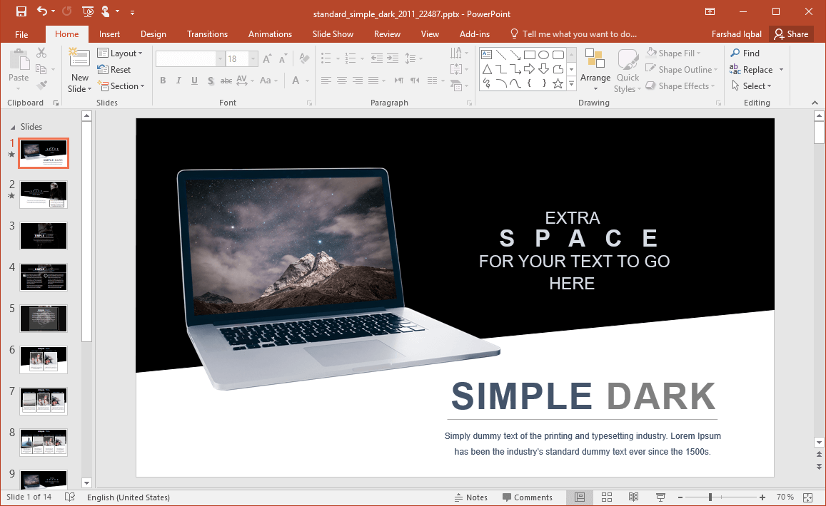 Space and Sky Themed Opening Slide