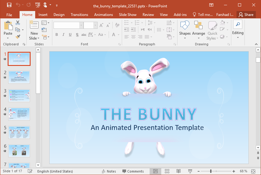 Animated Easter Bunny PowerPoint Template