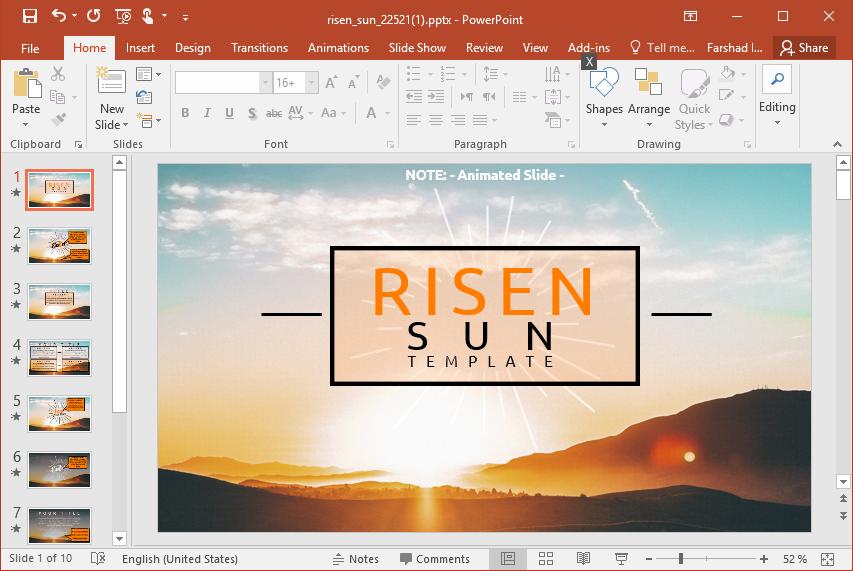 Animated Risen Sun Powerpoint Template