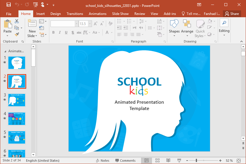 School Girl Silhouette PowerPoint Template