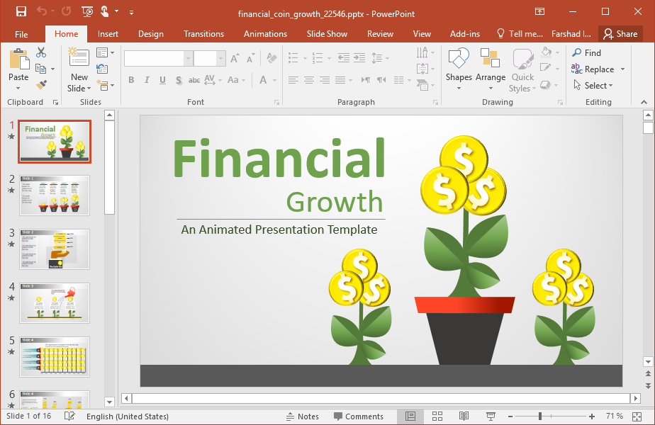 Animated Financial Growth PowerPoint Template