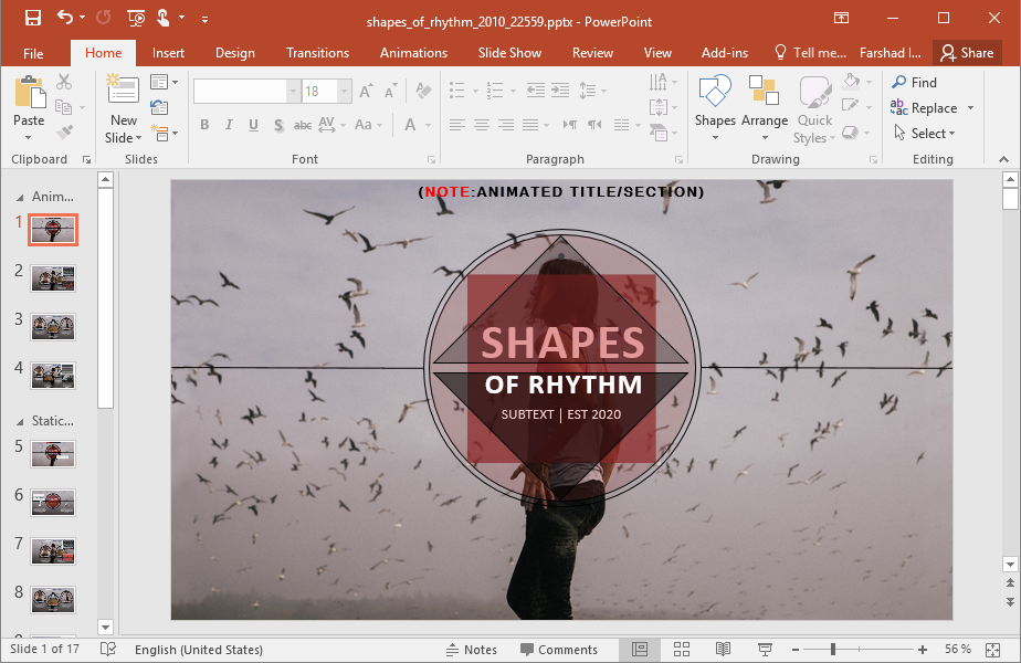 Animated Shapes Of Rhythm PowerPoint Template