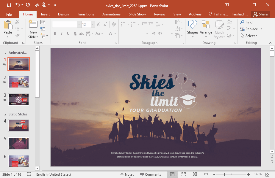 Animated Sky is The Limit PowerPoint Template