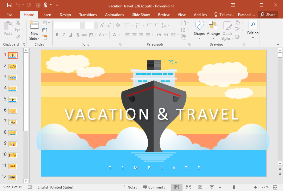 Animated Vacation Travel PowerPoint Template