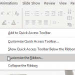 Right-click on Ribbon to Customize Tabs