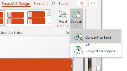 Select Convert to Text Option
