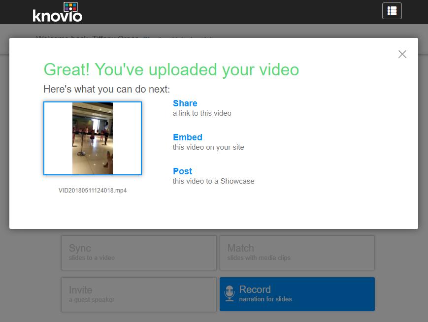 Share Sync Invite or Upload Your Video in Knovio