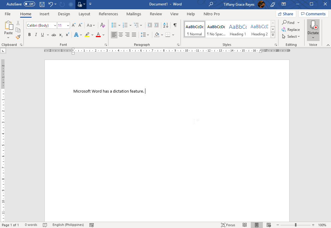 Dictate Feature for Microsoft Word