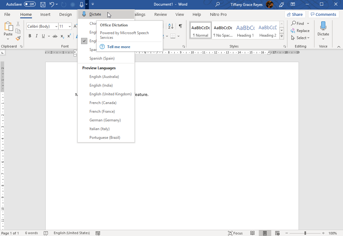 Microsoft Office Dictation Feature for Word