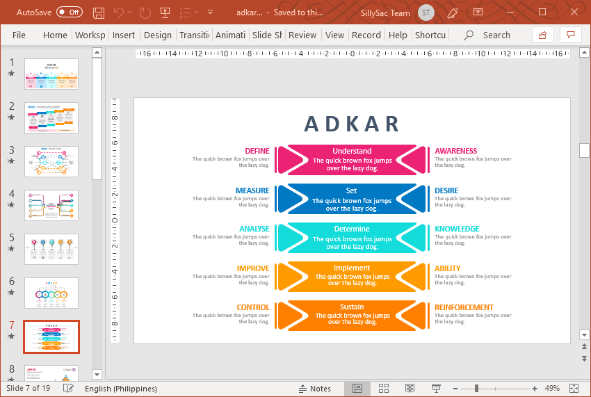 Vibrant ADKAR Model of Change Template