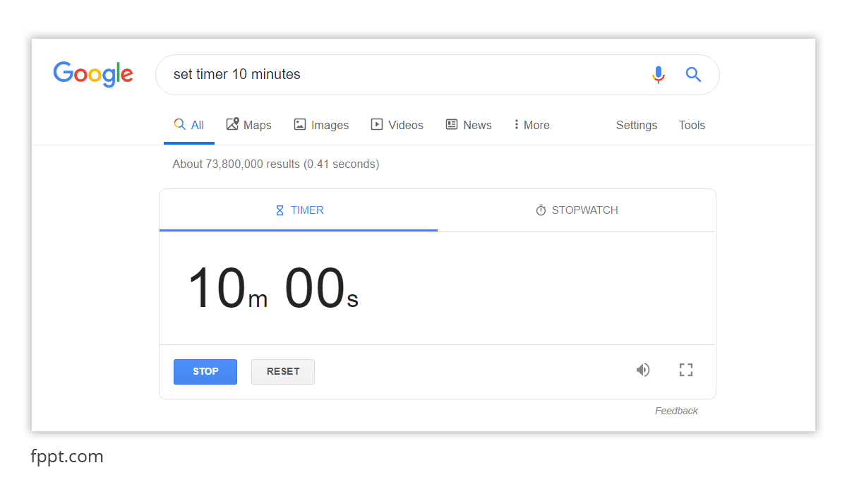 Set a timer to 10 minutes running a search in Google with the Timer Widget