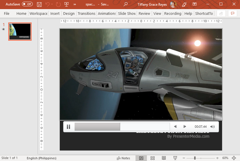 Animated Spaceship Video PowerPoint Template