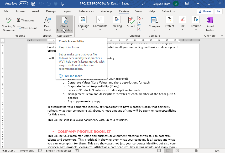 Check Accessibility in Microsoft Word