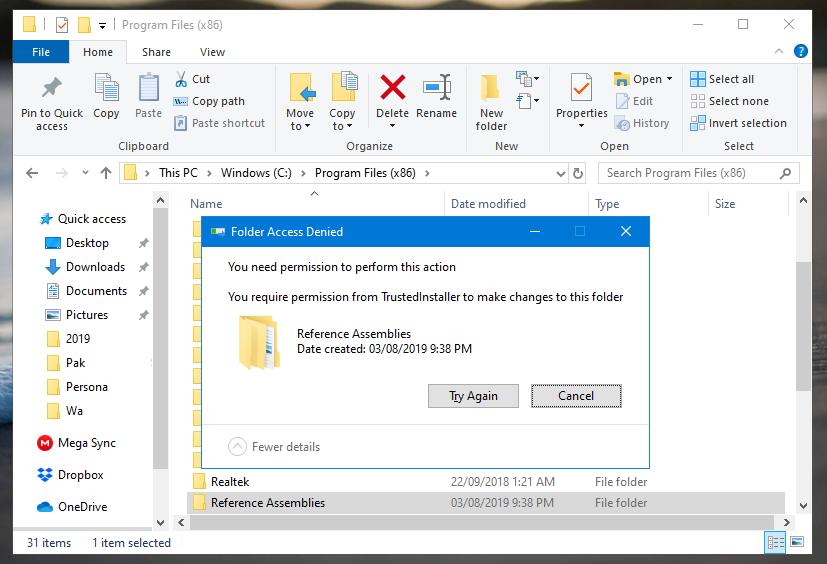 Delete Files Protected by TrustedInstaller in Windows 10