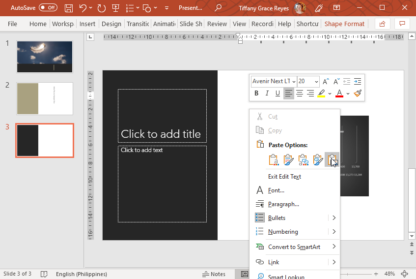Paste Chart in PowerPoint